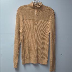 Express Men's Sweater Tan/Brown Cotton Medium Size